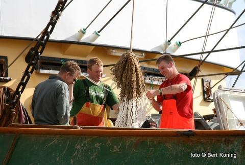 Door de bemanning van de 'Jan van Toon' van de familie van der Vis uit Oosterend werd de afgelopen week een opgeviste mast met ijzerbeslag geschonken aan het Maritiem en Jutters Museum te Oudeschild. De Sumwinger TX 36 deed deze vangst op de Engelse Banken. Joost Swarthof van de CIV bracht het gevaarte per heftruck naar het museum.