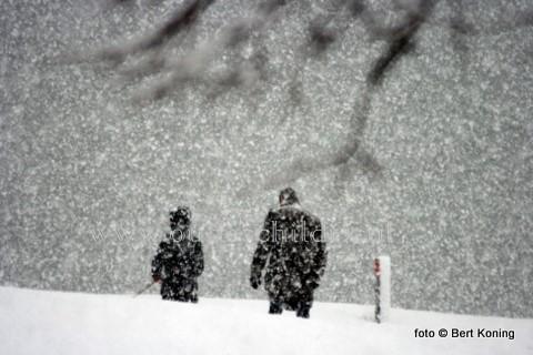 De fikse sneeuwbuien zorgde donderdagmorgen niet alleen voor ongemakken op de weg, maar ook voor prachtige sfeerbeelden zoals hier in Oudeschild. Bekende dorpsbewoners waren door de sneeuwval soms moeilijk herkenbaar tijdens hun dagelijkse rondje naar de dijk.