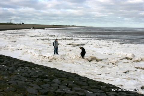 Deze jeugdige Duitse toeristen vermaken zich prima op ijs bij de molen van 't Noorden. Door de oosten wind van de laatste dagen komt ook hier het drijfijs uit de Waddenzee hier massaal bij elkander.