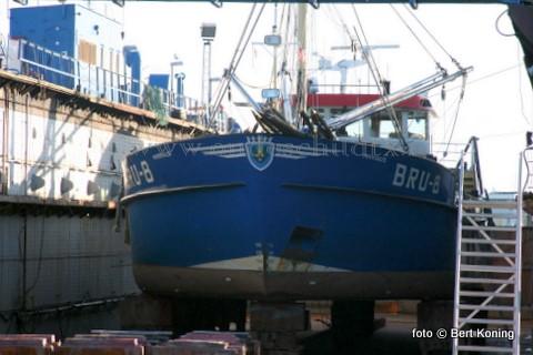 Vrijdag werd de 40 meter lange schelpenvisser BRU 8 voor een kleine lekkage in het vlak drooggezet bij Visser in Oudeschild. De 'Marinus' van M. en M. Padmos BV uit het Zeeuwse Bruinisse onderging tevens een reparatie aan de tunnel en een nieuw vervaardigde roerhak werd aangelast.