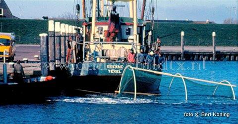 De oplossing van het raadplaatje van vorige week was de ruil in de winter van 1985 op 1986 was tussen Dirk Slik van de TX 31 'Wendy' en de vrachtwagen van Rien Bakker. Deze ruil vond plaats in het Stoomboot Koffiehuis op de haven van Oudeschild. De 15 meter lange (ex) TX 31 werd in 1949 gebouwd als WR 186. Mei 1982 werd het de TX 31 van Dirk Slik. Die er ondermeer mee probeerde buitengaats forrelen te kweken. Maar uiteindelijk zwommen er meer ontsnapten exemplaren in de Waddenzee, dan in de speciale fuiken (!) Zoals hierboven op de foto door de TX 31 naar buiten wordt gesleept. Na de ruil kwam het 15 meter lange kotter nog in 1990 als HA 51 'Vrijheid' in de vaart voor de rondvisserij. In 1994 werd het uitgeschreven. Met dank voor de gegevens aan kotterkenner Sam van der Slikke, met zijn (naar eigen zeggen) 'laptop op stoom'.