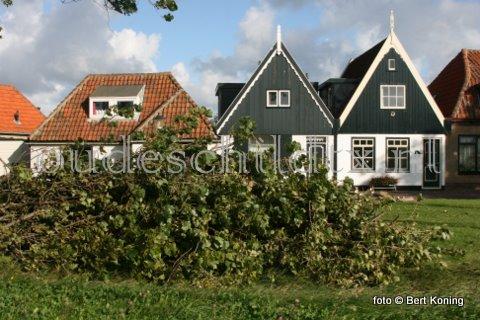 Het onsruimige weer, van west tot zuidwest 7 tot 8, zorgde maandag voor een gesneuvelde boom op de Ruyterstraat van Oudeschild. Terwijl dinsdag zowel de haven als het nieuwe strandje van de Waddenhaven Texel tamelijk te kampen kreeg met het hoge water.